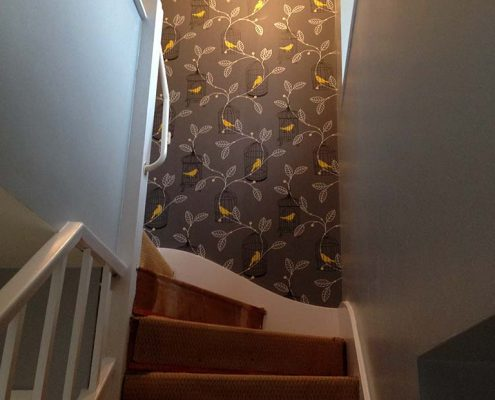 Stair Case Wall Papered and Painted