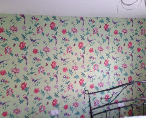 Feaured Wall Papered Bedroom
